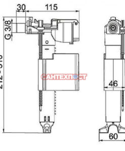 Универсальный заливной механизм для инсталляции Wisa 8035432572