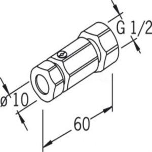 Комплект (пара) прямых переходников Oras 1/2 на 10 мм. с затвором