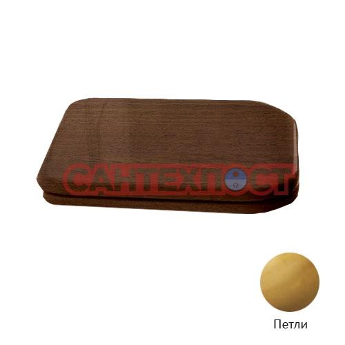 Деревянное сиденье Kerasan Waldorf с крышкой для унитазов с микролифтом петли золото 418740noce/oro